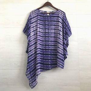 Chicos S/M Purple Tie Dye Poncho Top
